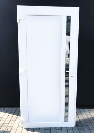 drzwi białe PVC sklepowe szyba NOWE zewnętrzne 100x210 cięka szyba