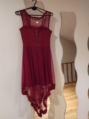 Przepiękna bordowa sukienka z tiulem M