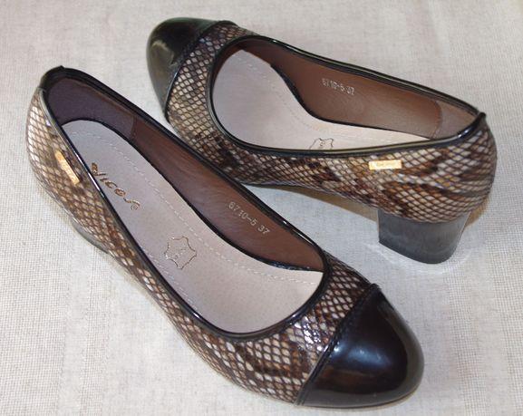 Туфли Новые Под Змеиную Кожу Черно-Коричневые С Каблуком 37 Размер
