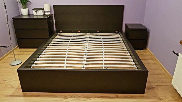 Meble czarne malm ikea 160 cm 200 cm łóżko komody szuflady