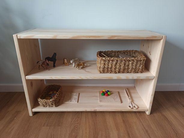 Drewniany regał na książki na zabawki Montessori