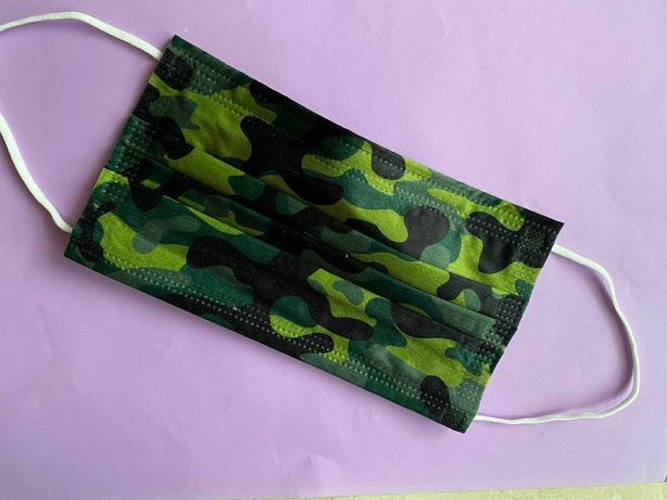 Защитные Комуфляж-Хаки Премиум маски. 3 слоя, Мельтблаун. 50шт+Подарок