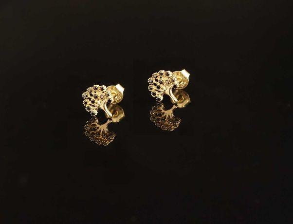 Złoto 585 - złote kolczyki Drzewko Szczęścia