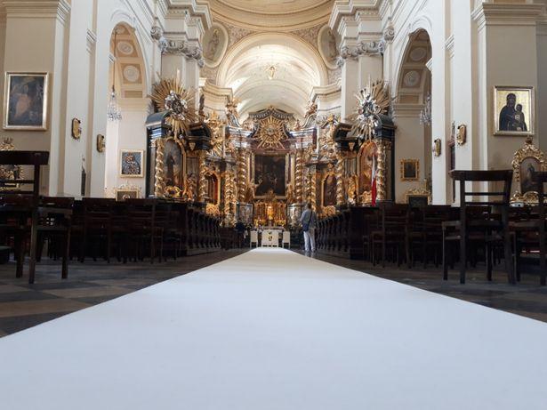 1,5m Szeroki Gruby Dywan Biały Czerwony Dekoracja Kościoła Ślub Wesele