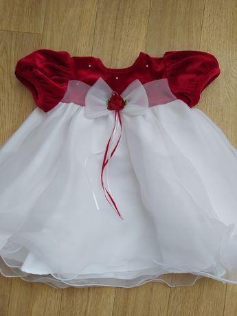 Zestaw sukienka majteczki opaska święto urodziny r. 68-74