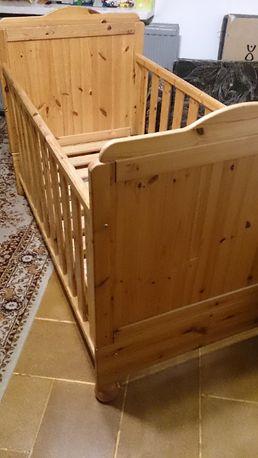 Drewniane naturalne łóżko dla dziecka plus MATERAC