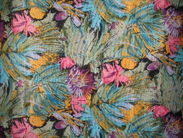Piękna letnia angielska tkanina w wesoły jaskrawy wzór oraz różne inne
