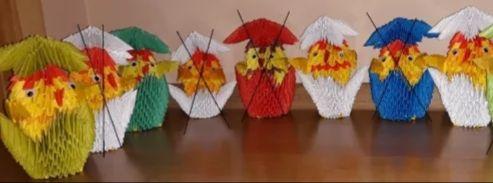 Kurczaki w skorupkach z origami modułowego