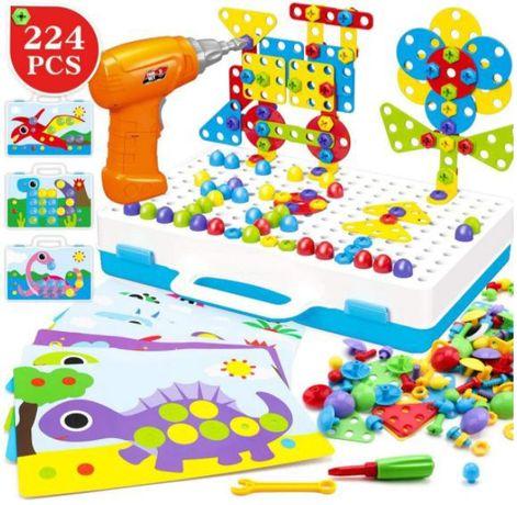 Мозаика конструктор с шуруповертом и запчастями Puzzle Peg 224 детали