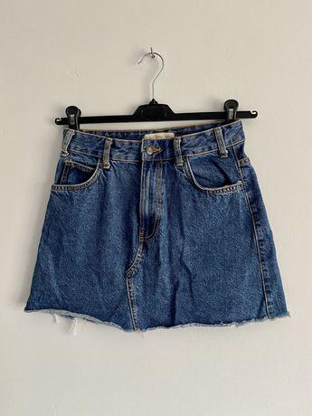 Spódniczka jeansowa Bershka vintage wysoki stan basic denim
