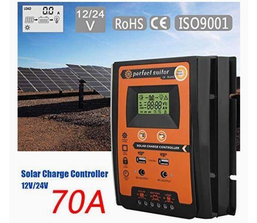 Controlador solar MPPT, 12/24 V 70A MPPT Painel do driver de carga sol