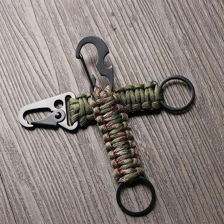 Porta chaves estilo militar verde tropa acessórios metálicos preto