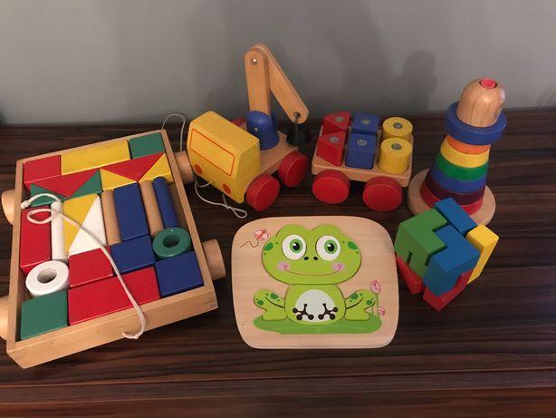 Zestaw drewnianych zabawek IKEA drewno auto klocki puzzle drewniane