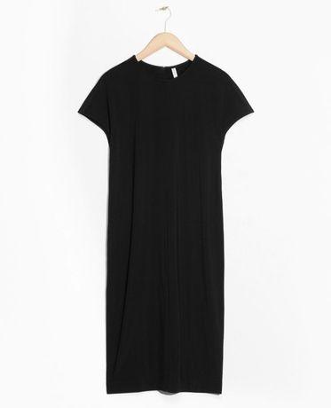 & Other Stories czarna sukienka z krótkim rękawem basic j nowa cos