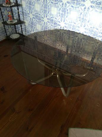 Mesa de vidro eletrificada dos anos 70