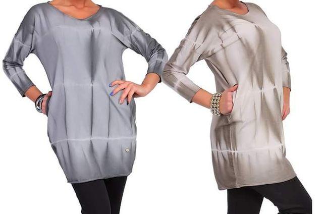 Tunika damska bluzka Nowa super jakość rozm M dwa kolory szara beżowa