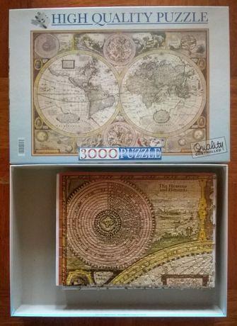 Puzzle 3000 Peças - Mapa Mundo Antigo (Montado)