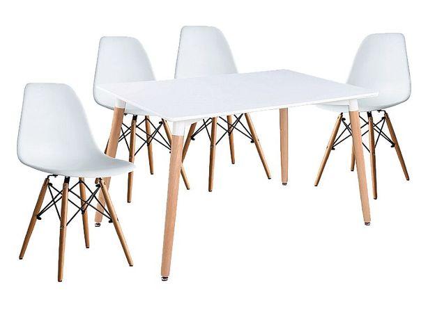 Zestaw Stół Nolan + Krzesła Enzo (1+4) Kolor Biały/Buk* Nowe Promocja