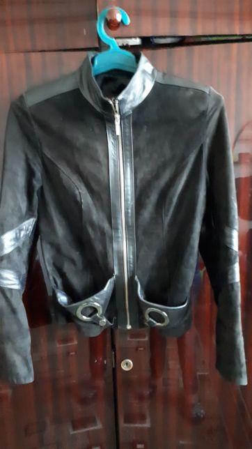 Пиджак куртка кожанная замшевый со вставка кожи,натуральный,размер S