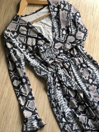 Sukienka imitacja zwierzęca wężowa modna falbanka jesień wiosna zima w