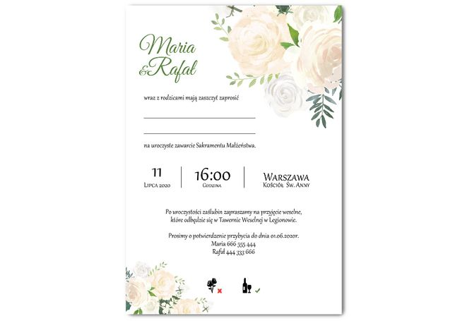 KALKA, PEONIA - zaproszenia ślubne
