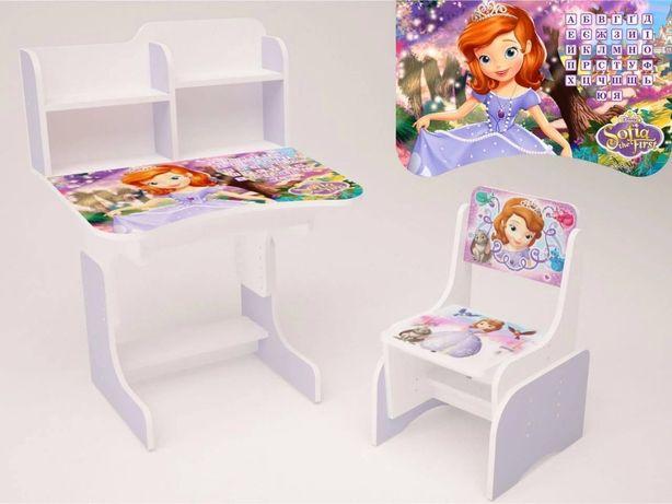 Детская парта-стол растишка со стульчиком высокая Принцесса София.