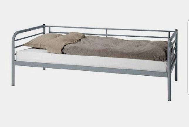 Łóżko Tromso, materac  Ikea 90x200 szare metal loft
