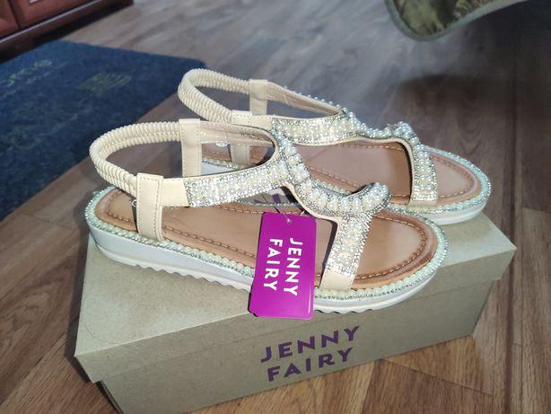 Piękne sandały perełki r. 38 24 cm NOWE Jenny Fairy