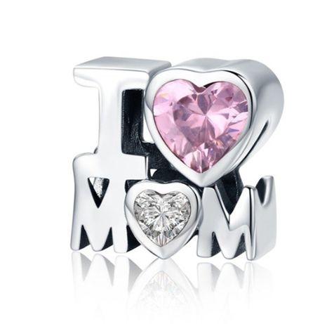Charms PANDORA srebro 925 kocham mamę cyrkonia mama
