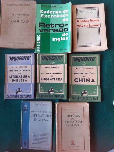 Livros antigos de inglês pertencentes a antiga professora
