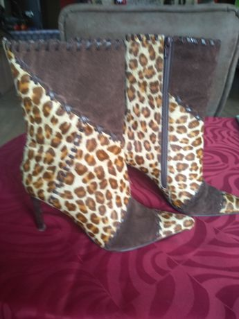 Kozaki botki buty skóra pantera r.39