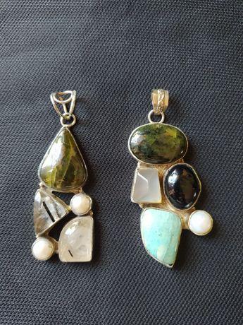 Conjunto de prata e pedras preciosas