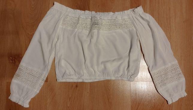 Biały krótki top bluzeczka Boho H&M 36/S