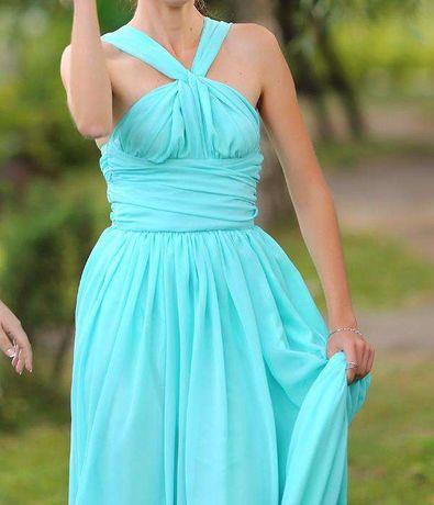 Шифоновое мятное платье Платье для подружки невесты Выпускное платье