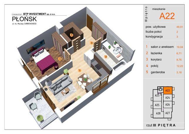 Mieszkanie 49,91m2 2-pokoje Nowa Inwestycja APARTAMENTY PŁOCKA