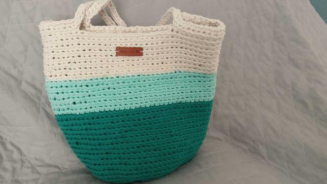 torebka szydełkowa, typu shopper ze sznurka, 3 kolory