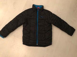 PUMA ciepła kurtka zimowa 116 cm czarna z odblaskiem