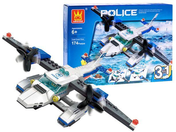 Kreatywne KLOCKI POLICJA SAMOLOT 3w1 174ele