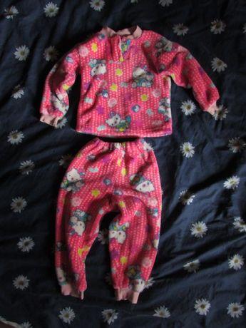 Теплая флисовая пижама на 3-4 года,Hello Kitty 98-104 р. (осень-зима)
