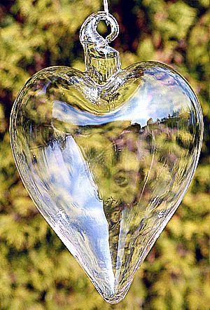 Duże serce serduszko szklane ze szkła twardego zawieszka szklana