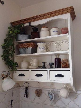 szafka wisząca kuchenna,półka drewniana z szufladami