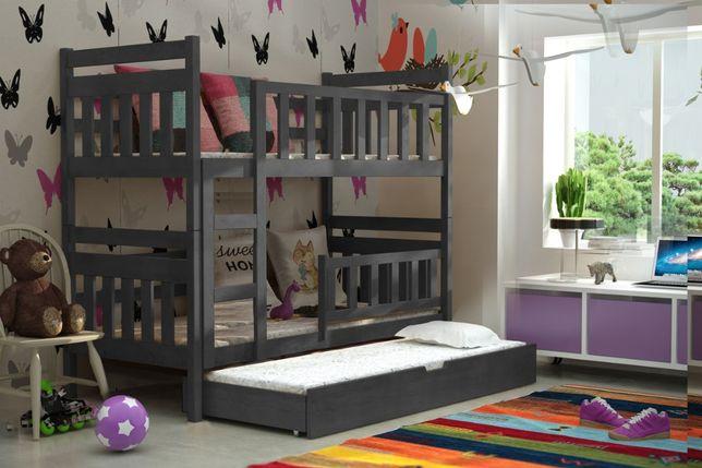 Łóżko wykonane z drewna Staś! Trzy osobowe! Materace w zestawie!
