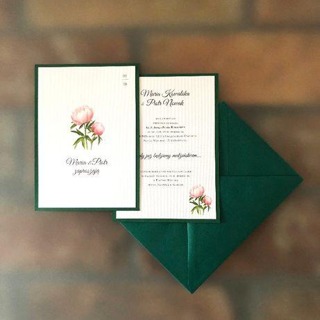Promocja - Zaproszenia ślubne - Skromna Piwonia