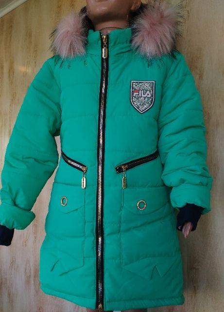 Теплая зимняя куртка пальто на девочку 7,8,9,10,11,12 лет
