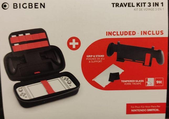 NOVO! Kit de viagem 3 em 1 Nintendo Switch (suporte , mala e vidro)
