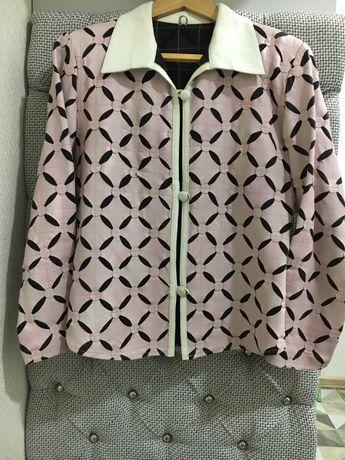 Продам элегантный кожаный пиджак, комбинированный