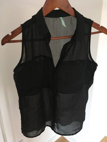 Neonowa i czarna bluzka koszula na lato bez rękawów Bershka S
