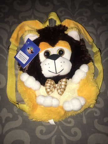 Детский плюшевый рюкзак в виде мягкой игрушки «Львёнка»