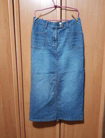 Стильная длинная джинсовая юбка, синяя юбка в пол