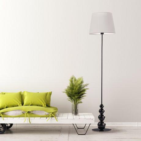 Czarna lampa stojąca podłogowa LIZBONA do sypialni z kulami E27